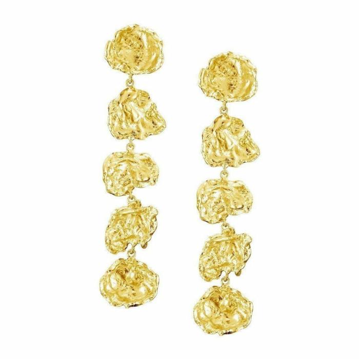 Large Five Drop Gold Vermeil Earrings