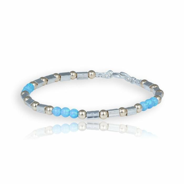 Gold & Sterling Silver Triple Opal Bracelet