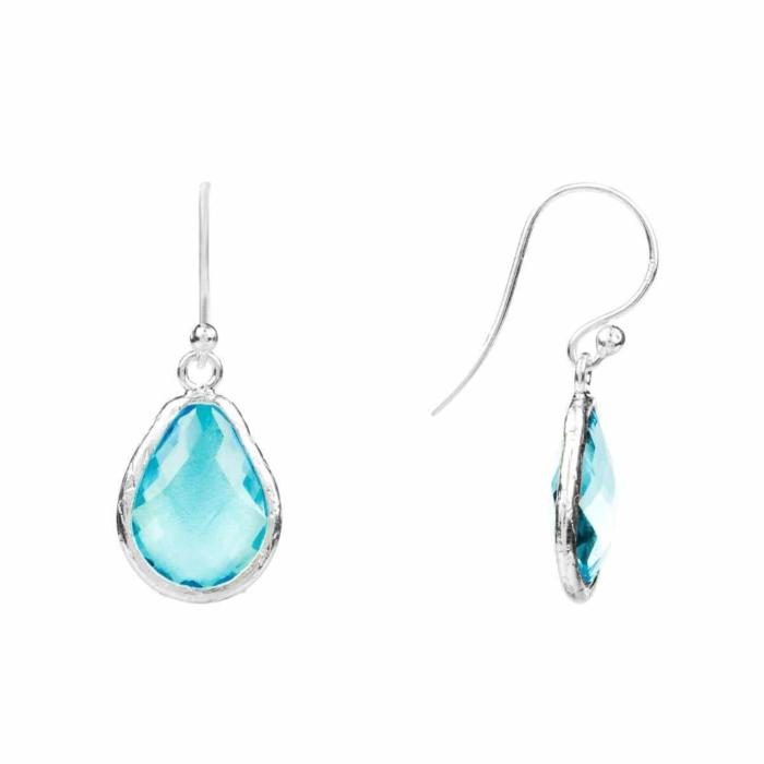 Silver Petite Drop Earring Blue Topaz Hydro