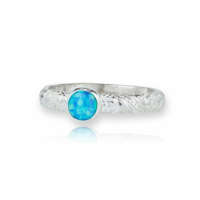 Sterling Silver Flower Opal Ring