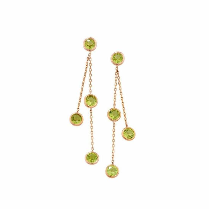 Pimlico Rose Gold Peridot Drop Raindrop Earrings