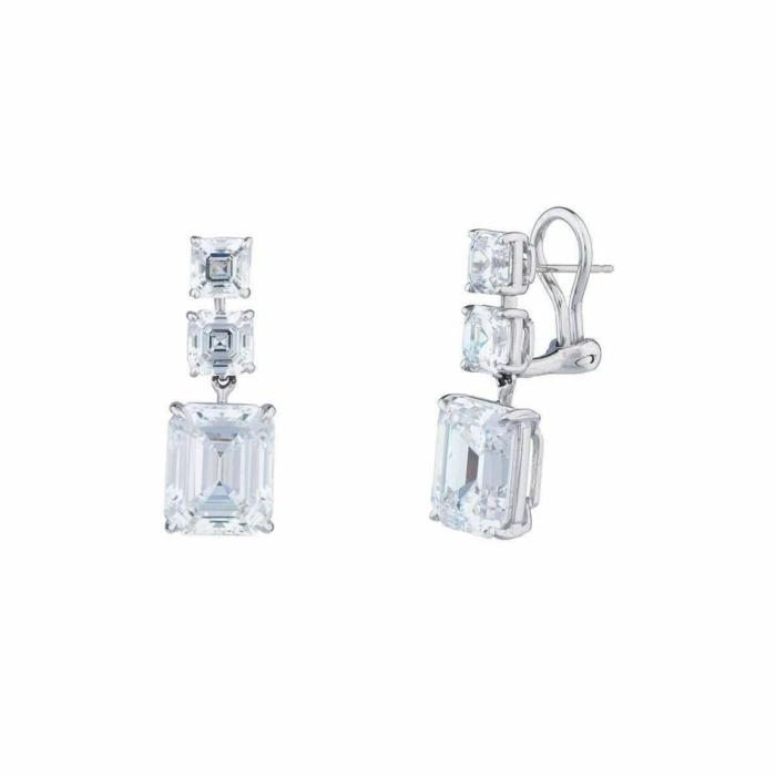 Sterling Silver & Palladium 20ct Asscher and Emerald Drop Earrings
