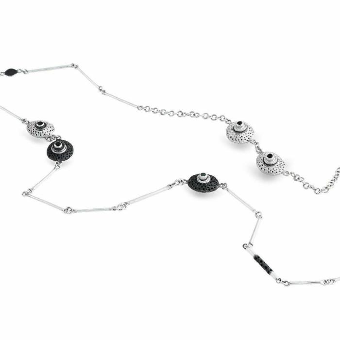 Sterling Silver, Emerald & Garnet Black & White Necklace