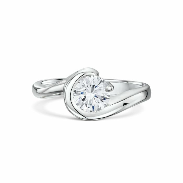 Palladium Wrap Around Claw Set Diamond Engagement Ring