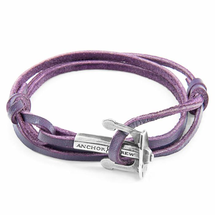 Grape Purple Union Anchor Silver and Flat Leather Bracelet