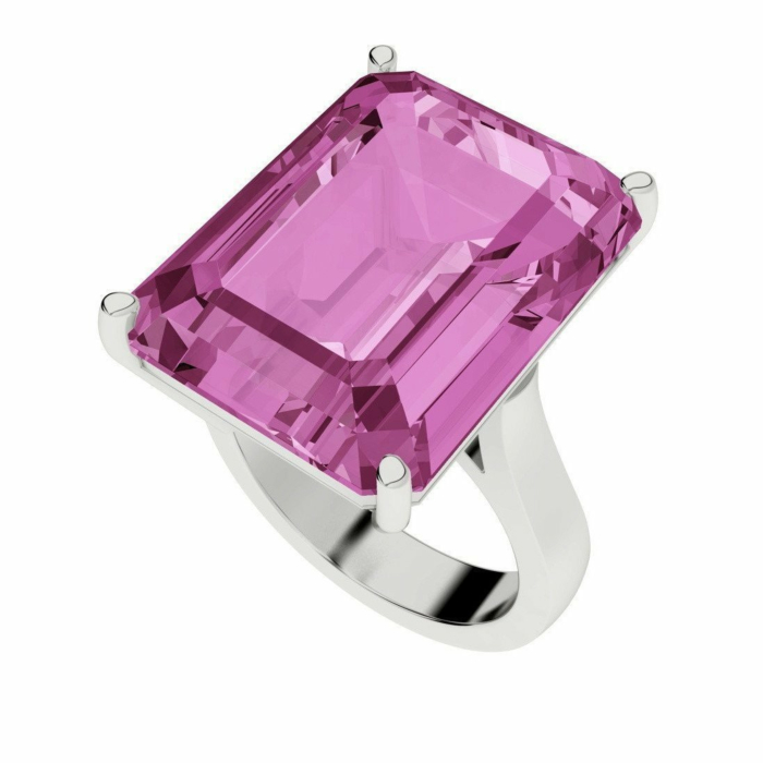 Pink Sapphire Emerald Cut Sterling Silver Cocktail Ring