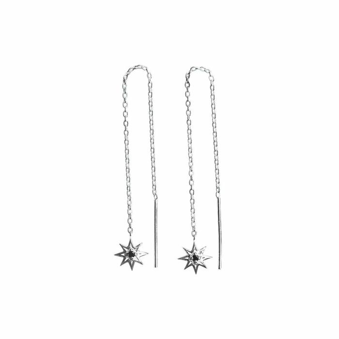 Sterling Silver & Black Spinel Falling Star Thread Earrings