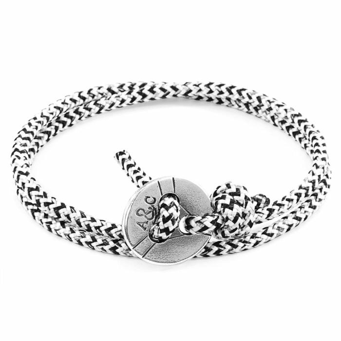 White Noir Lerwick Silver and Rope Bracelet