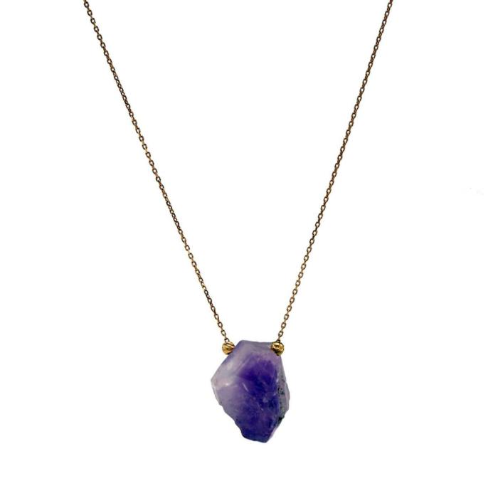 18kt Rose Gold Amethyst Druzy Necklace
