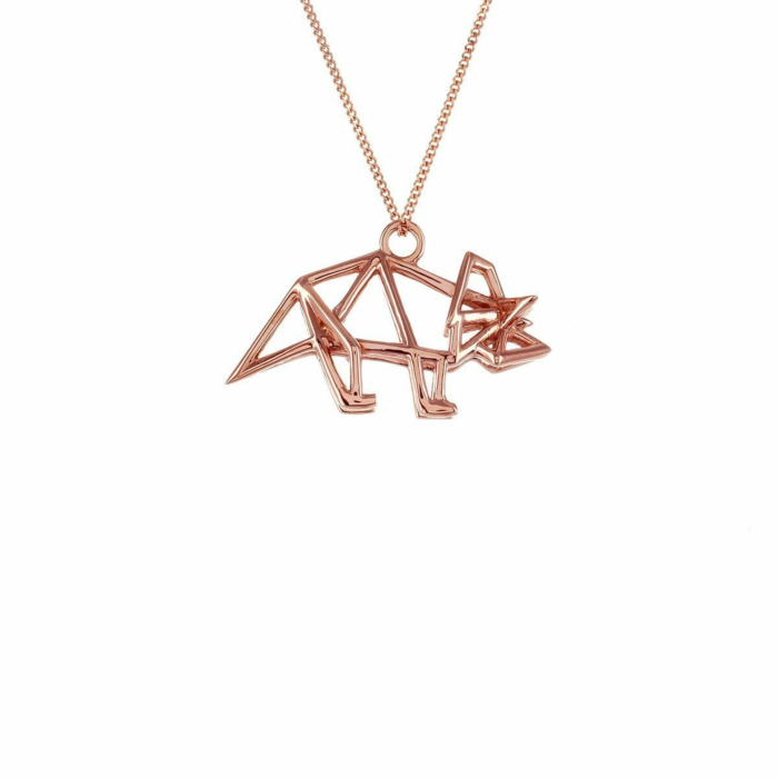 Sterling Silver & Pink Gold Frame Triceratop Origami Necklace