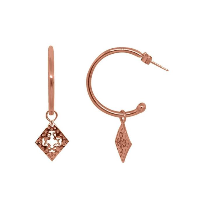 Rose Gold Diamond Medium Hoop Earrings
