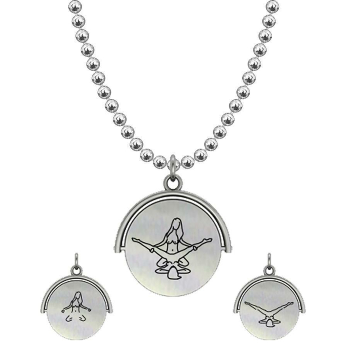Allumersutra 13MM Silver Pendant Necklace - Girl And Girl - The Eagle