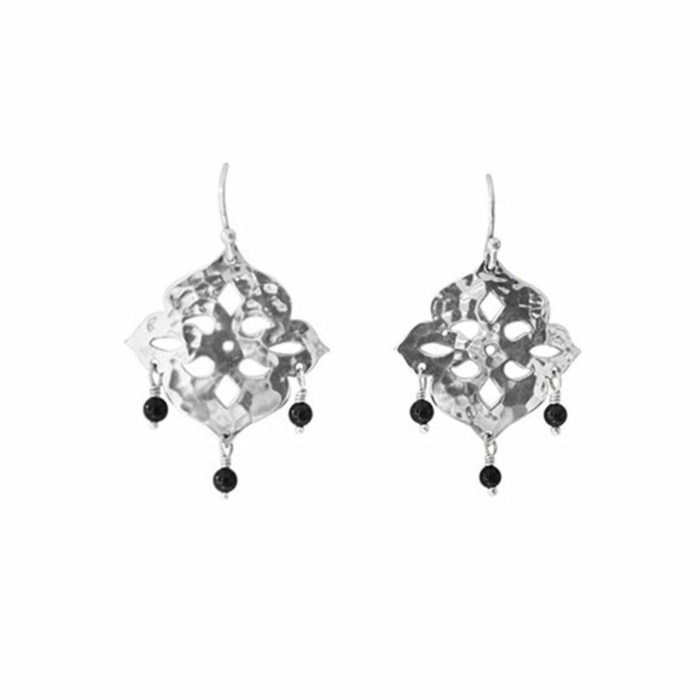 Sterling Silver & Black Onyx Thai Princess Drop Earrings