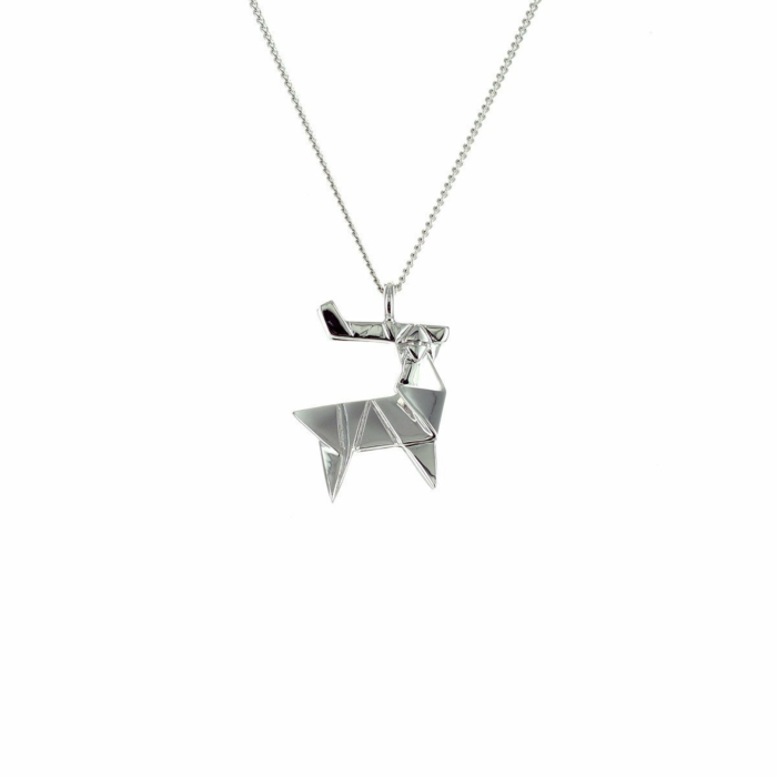 Sterling Silver Mini Deer Origami Necklace