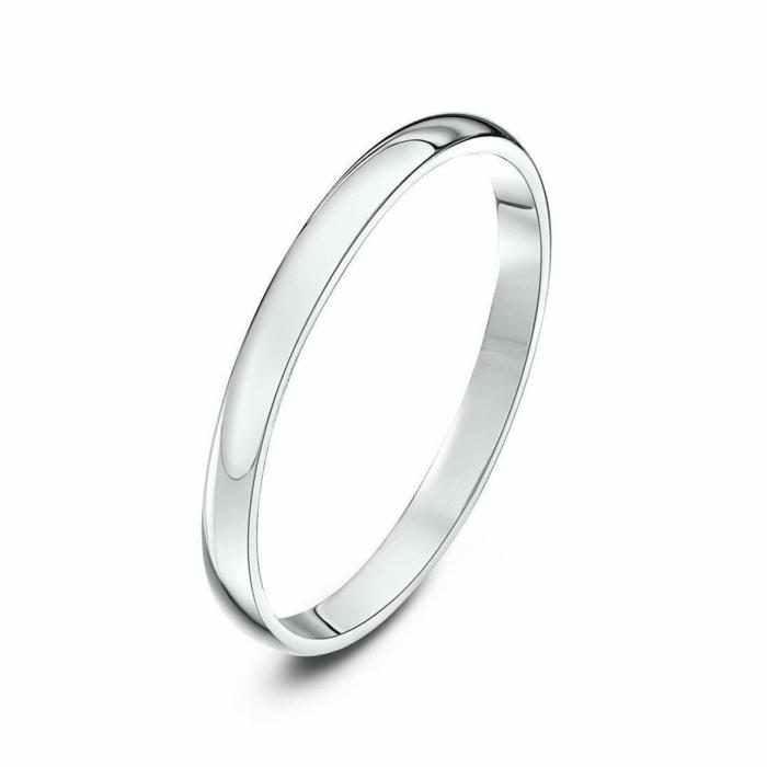 Platinum D-Shape Wedding Ring