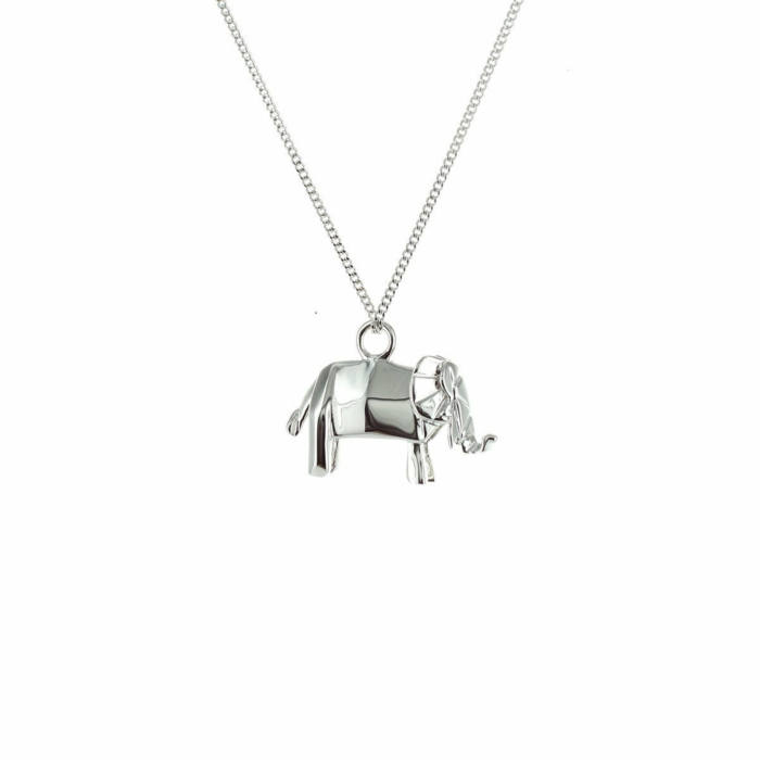 Sterling Silver Mini Elephant Origami Necklace