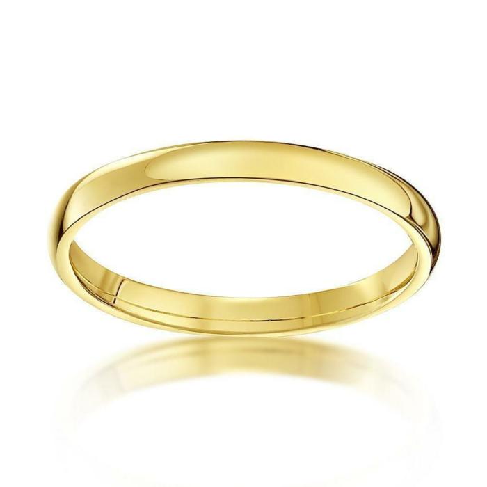 18kt Yellow Gold Court Shape Wedding Ring