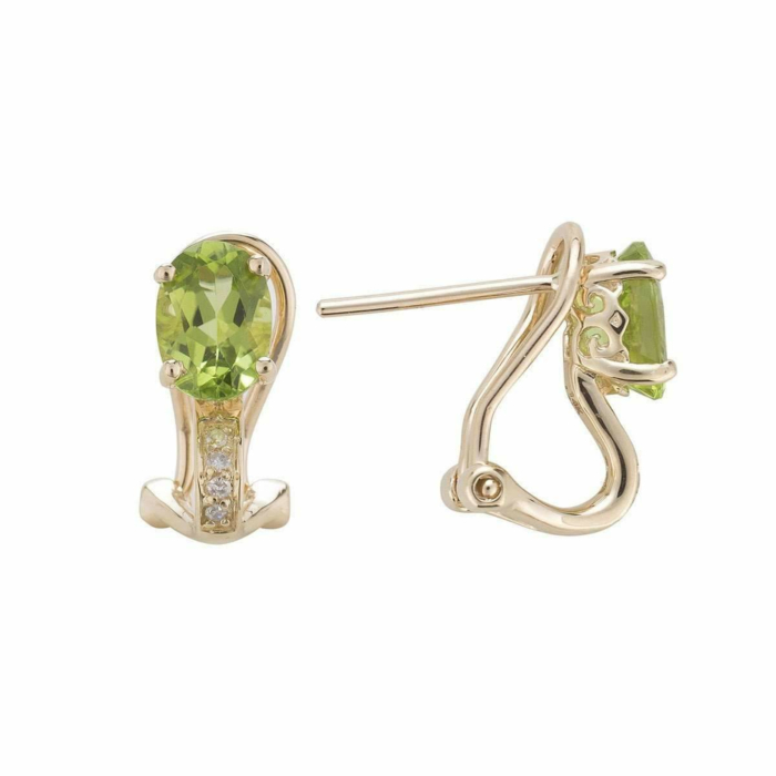 14kt Yellow Gold Diamond And Peridot Earring - August Birthstone
