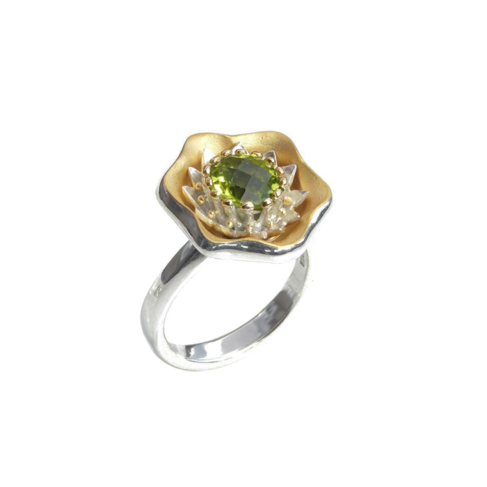 Sterling Silver Summer Ring With Yellow Gold Details