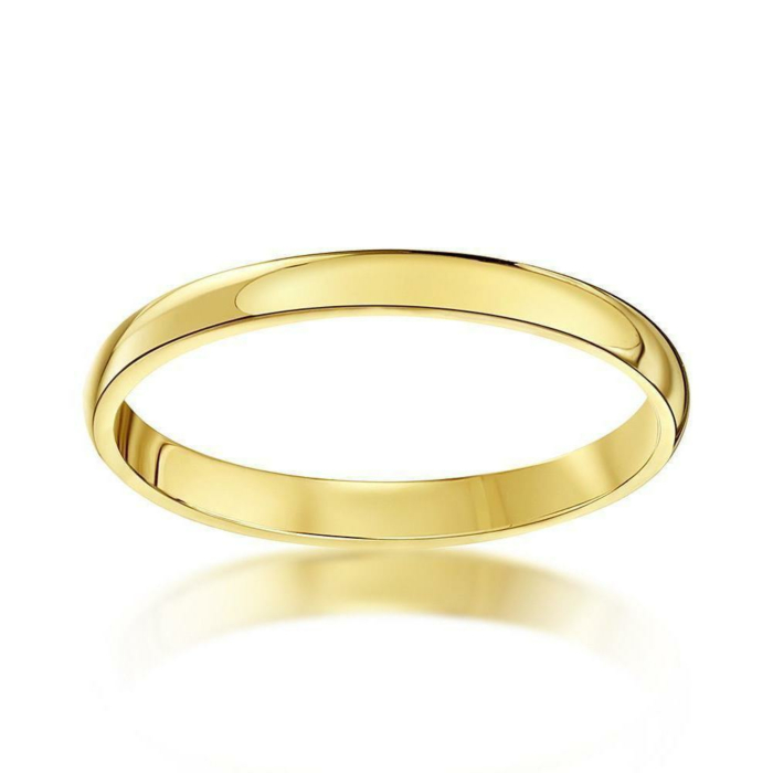 18kt Yellow Gold Heavy D-Shape Wedding Ring