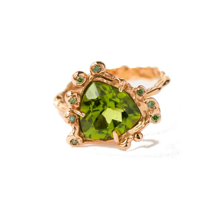 18kt Rose Gold Ring With Green Diamonds & Tsavorite