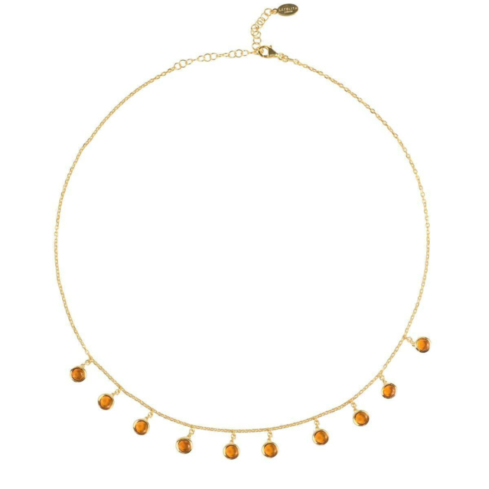 Florence Round Gemstone Necklace Gold Citrine