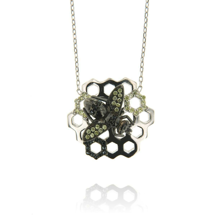 Rhodium Plated Sterling Silver Honeycomb Bee Black CZ Necklace