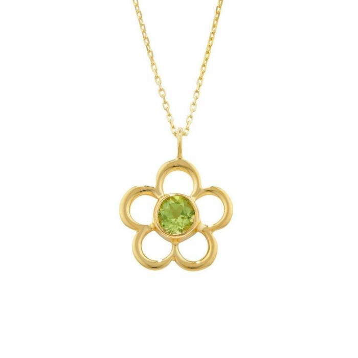 Blossom Birthstone Yellow Gold Peridot Pendant