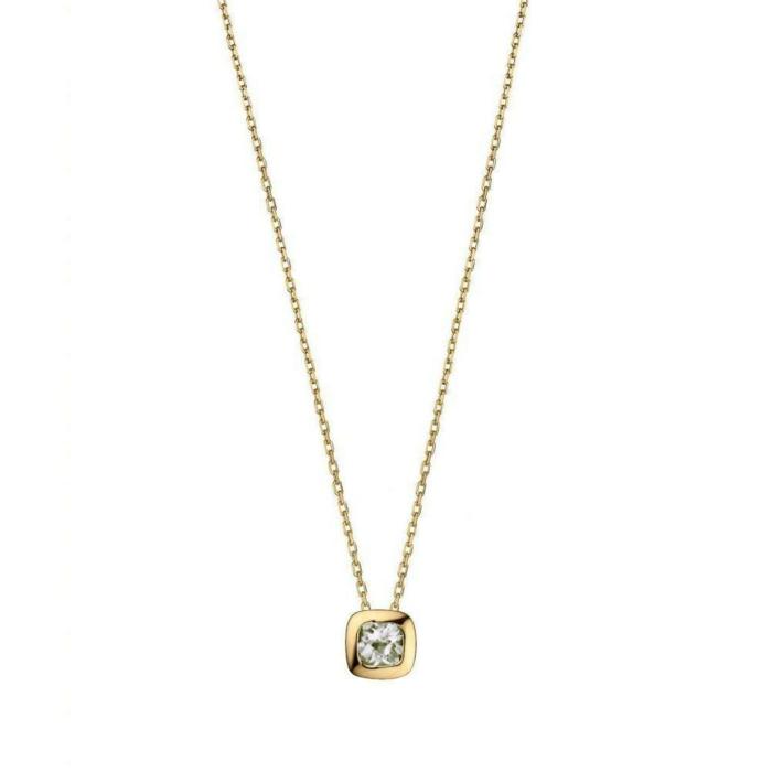 Gold and Quartz Checkerboard Necklace