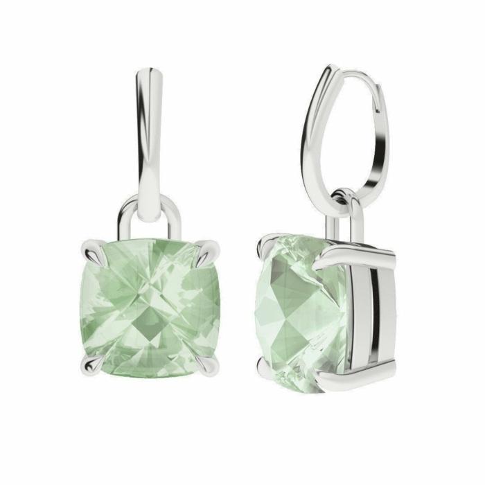 Green Amethyst 9kt White Gold Drop Earrings