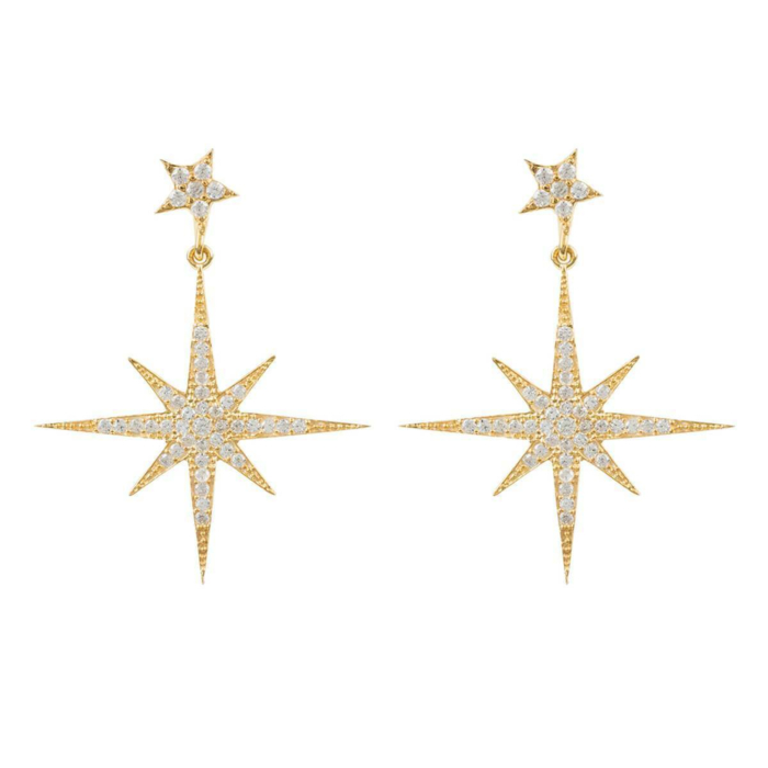 Yellow Gold Plated Petite Star Burst Drop Earrings
