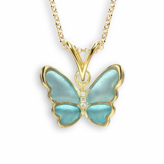 18kt Gold Turquoise Butterfly Necklace
