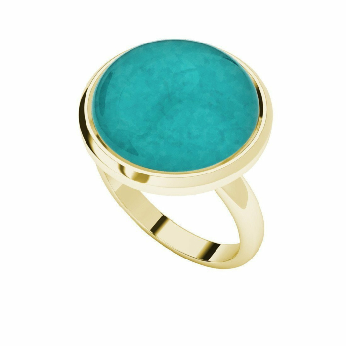 Amazonite Yellow Gold Plated Cabochon Ring