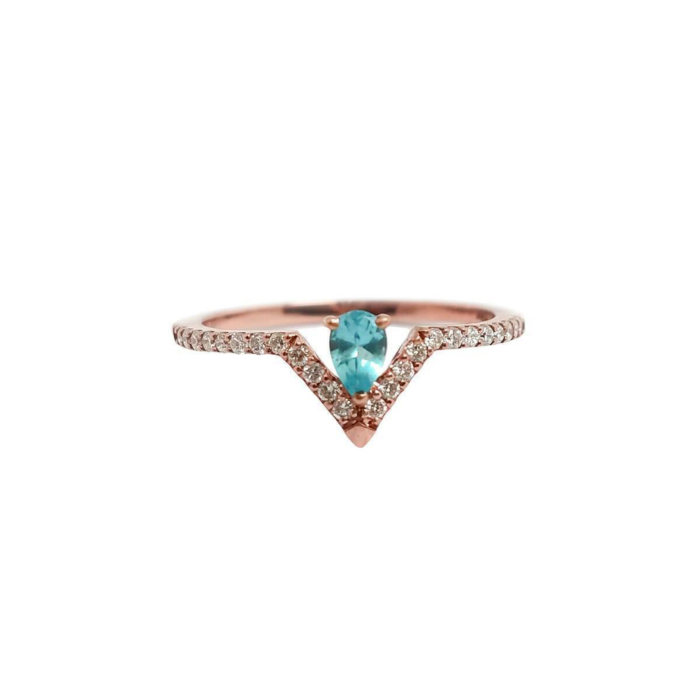 Pear Paraiba Blue Apatite & Diamond Ring