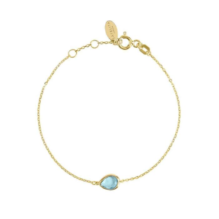 Pisa Mini Teardrop Bracelet Gold Blue Topaz