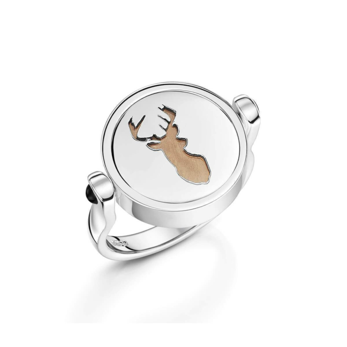 Sterling Silver Majestic Stag Ring With Black Onyx