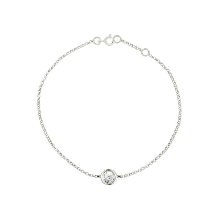 9kt White Gold Solitaire Diamond Raindrop Bracelet