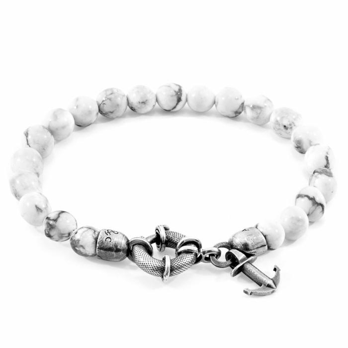 White Howlite Port Silver and Stone Bracelet