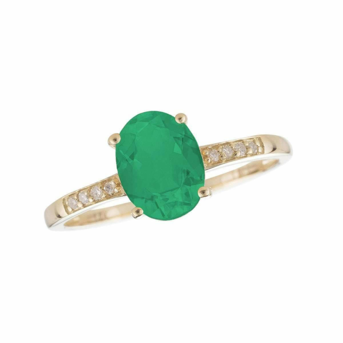 14kt Yellow Gold Diamond And Emerald Ring - May Birthstone