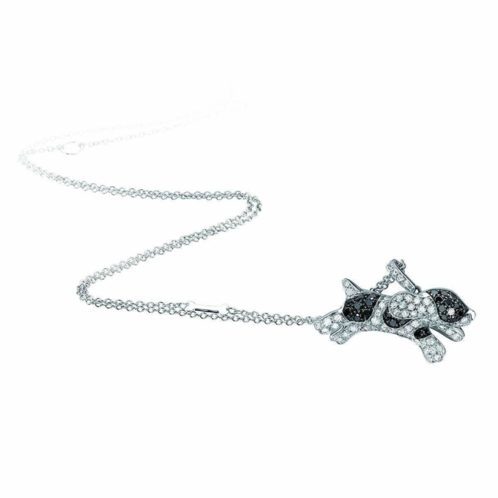 White Gold & Diamond Pet Jewels Collection Dog Necklace   Pinomanna