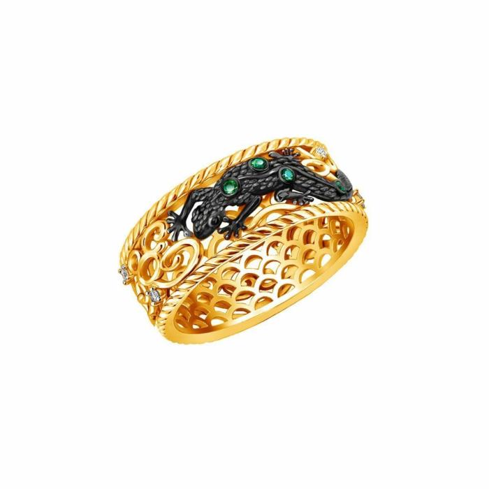 Gold & Emerald Earth Element Lizard Ring | Chekotin Jewellery