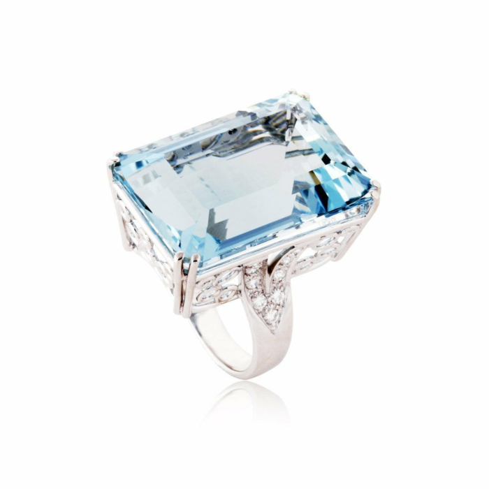 Fire and Ice Emerald-cut Aquamarine Ring