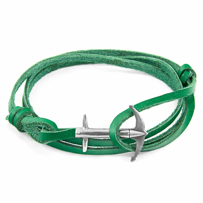 Fern Green Admiral Anchor Silver and Flat Leather Bracelet