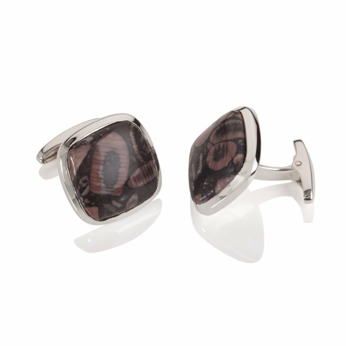 Sterling Silver & Mottled Agate Square Cufflinks
