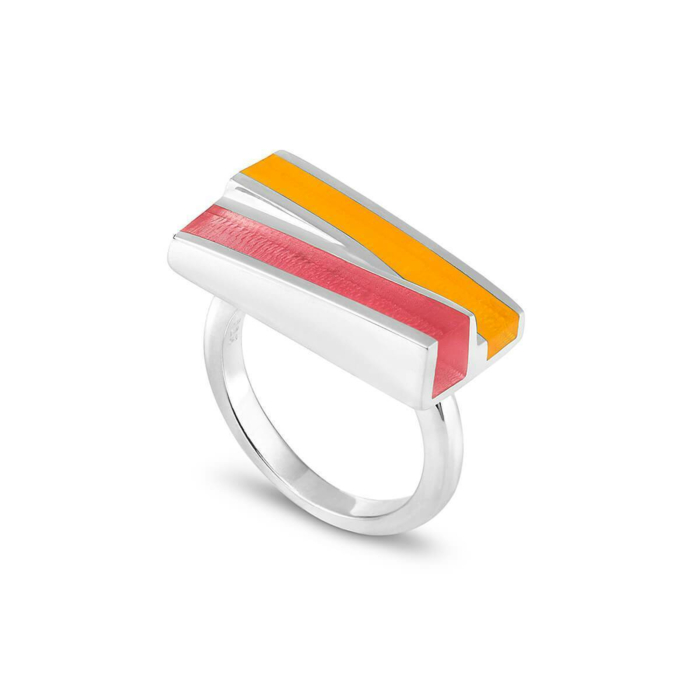 Silver Poppy Ring With Bubble Gum & Marmalade Resin