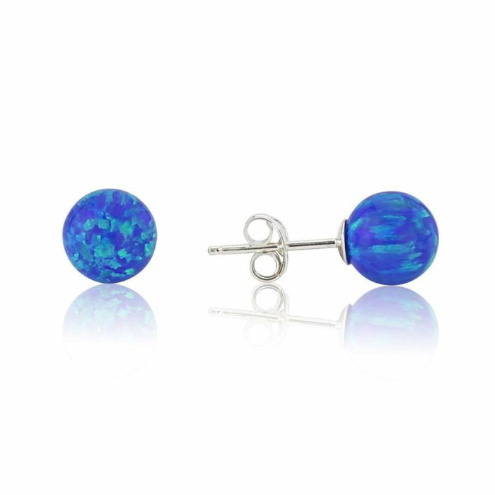 Sterling Silver & Dark Blue Opal Stud Earring