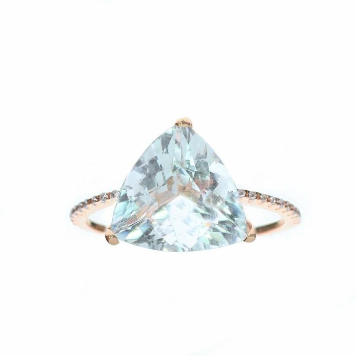 Trillion Cut Aquamarine Ring