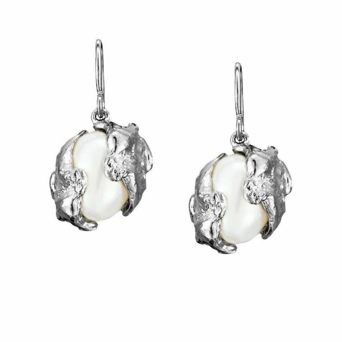 Cornish Seawater Cast Sterling Silver Encased Handmade Oval Pearl Earrings