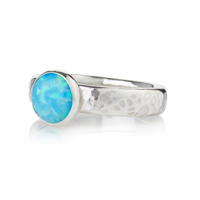 Sterling Silver Large Opal Ring