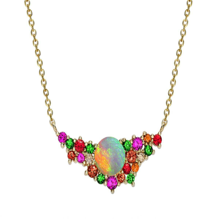 Yellow Gold Multi-Gem Harlequin Necklace